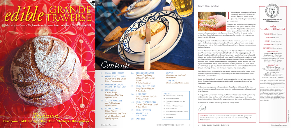 Edible Grande Traverse Holiday 2014 cover Barb Tholin Editor