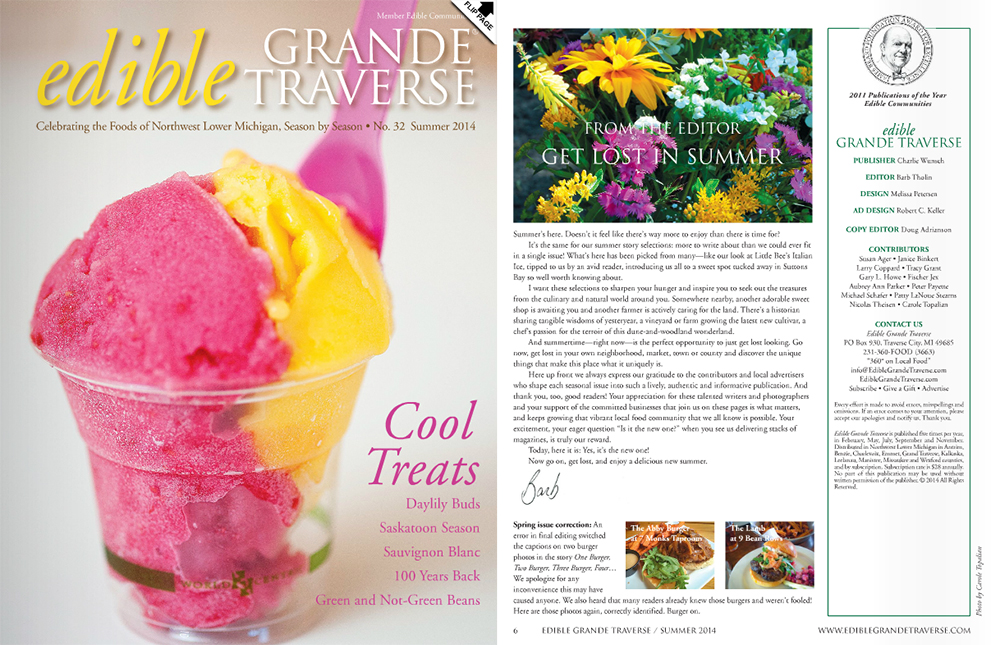 Edible Grande Traverse Summer 2014 cover Barb Tholin Editor