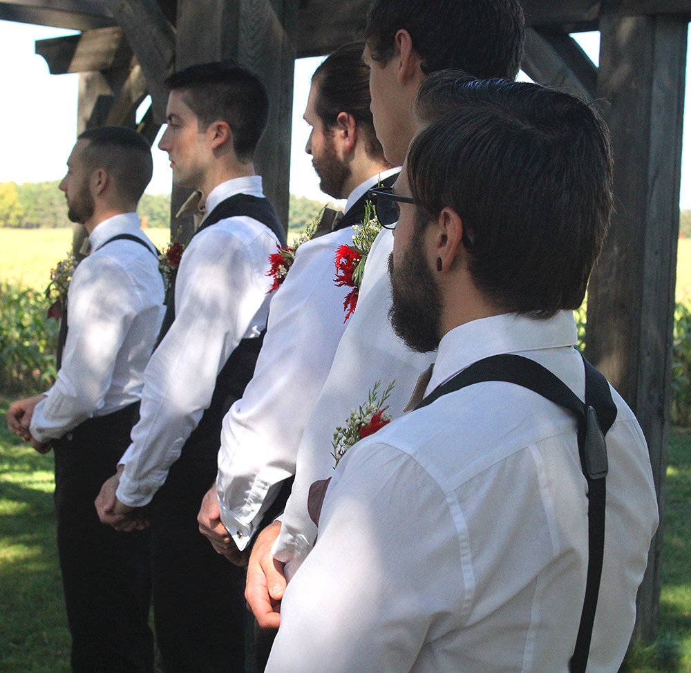 John Leach Nicholas Paul Nick Paul groomsmenfall wedding autumn wedding outdoor wedding outside wedding Northern Michigan wedding Leelanau County wedding Aubrey ann parker photograph