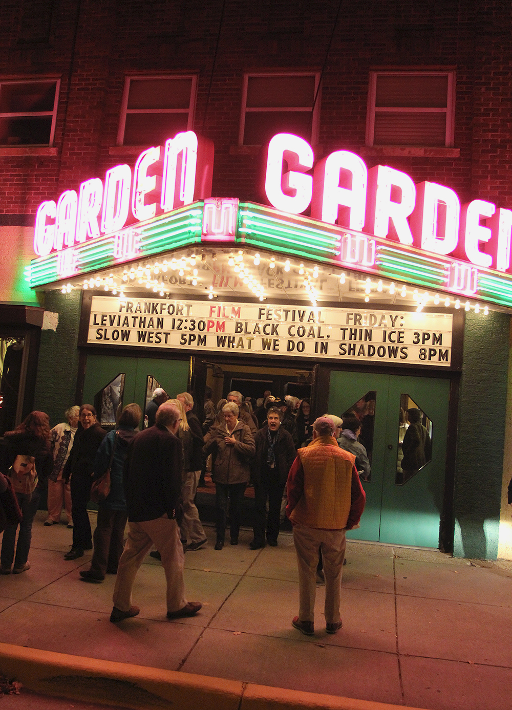 neon movie theater lights Frankfort Film Festival 2015 The Garden Theater F3 Frankfort Michigan
