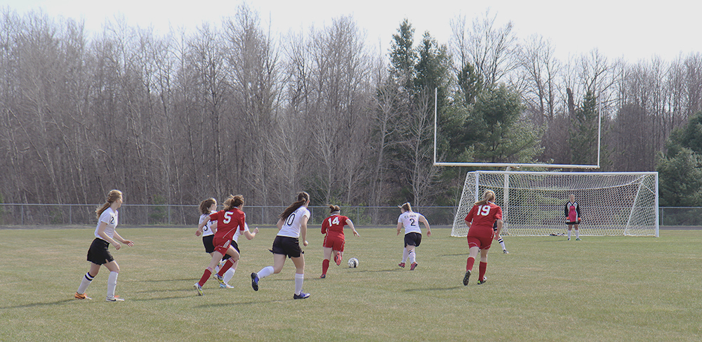 Tylor Kistler Megan Cota Fenja Firnhaber Benzie girls soccer Benzie Central girls varsity soccer Benzie Central Huskies Kingsley soccer Kingsley girls soccer Kingsley stags