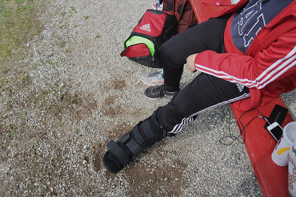 Fenja Firnhaber Benzie Girls Soccer injury injured broken foot sprained ankle boot