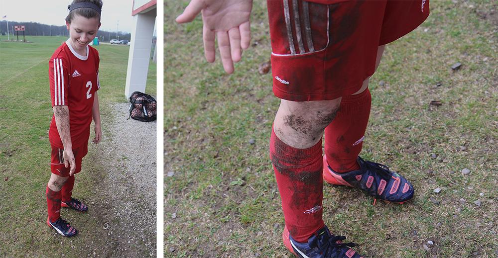 Sydney Ghering dirty soccer player muddy soccer player Benzie girls soccer Benzie Central girls varsity soccer Benzie Central Huskies Benzie Central Lady Huskies