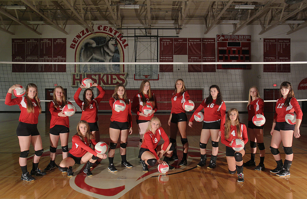Benzie volleyball Benzie Central High School Lindsay Smith Olivia Chiumino Lauren Church Manon Lutzke Madi Kunkel Leah Stapleton Hadley O'Connor Sarah Stapleton Ross Jordin Purchase Maile Church McKenzie Bevis 2016 Benzie Central volleyball Benzie Central varsity volleyball Benzie Central huskies