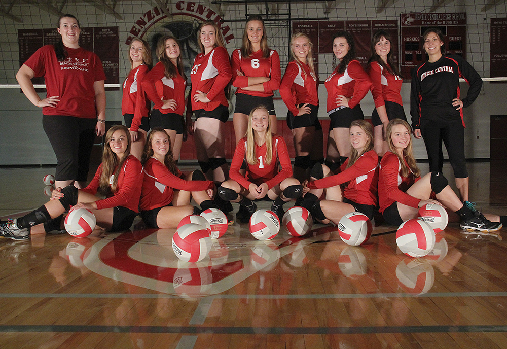 Benzie Central High School Benzie volleyball Benzie Central Lady Huskies Randi Lyn Stoltz Randi Stoltz Madison Lutzke Lindsay Smith Olivia Chiumino Lauren Church Manon Lutzke Madi Kunkel Leah Stapleton Hadley O'Connor Sarah Stapleton Ross Jordin Purchase Maile Church McKenzie Bevis 2016 Benzie Central volleyball Benzie Central varsity volleyball Benzie Central huskies