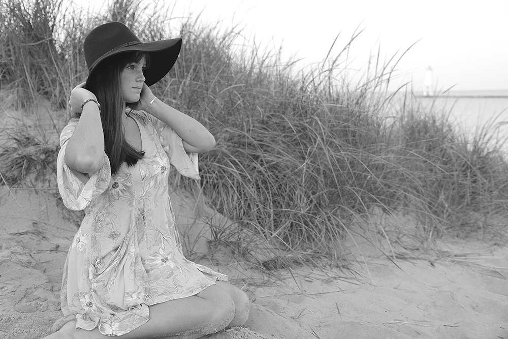 black and white senior portrait Lauren Church Benzie Central High School senior photos senior portraits at Frankfort beach