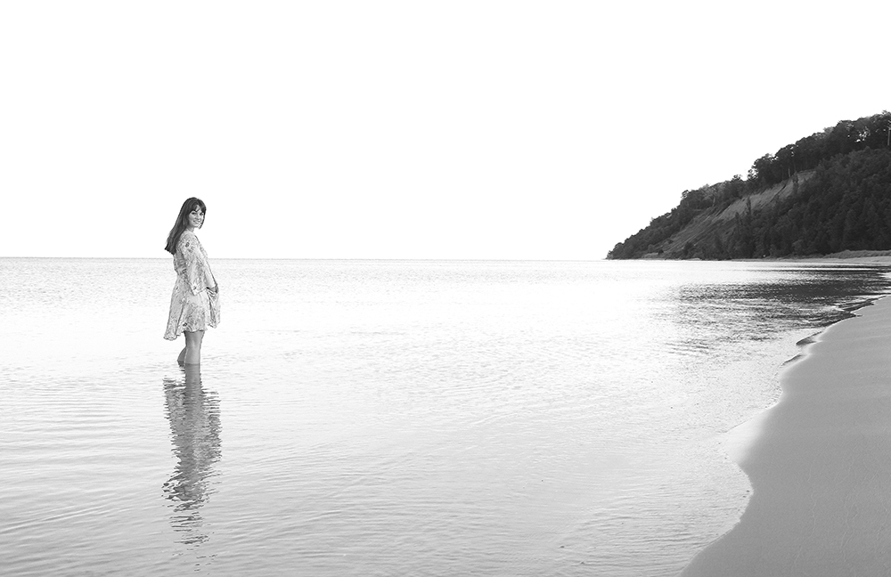 black and white senior portrait Lauren Church Lake michigan senior photo