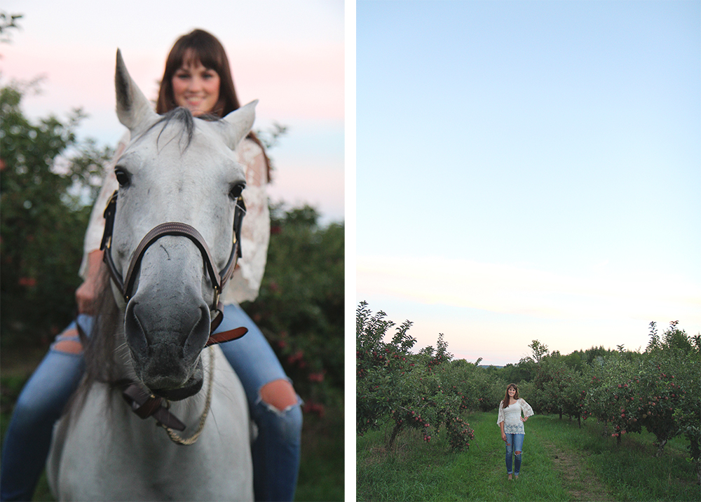 Northern Michigan senior portaits Benzie County senior photos with horse in apple orchard Lauren Church