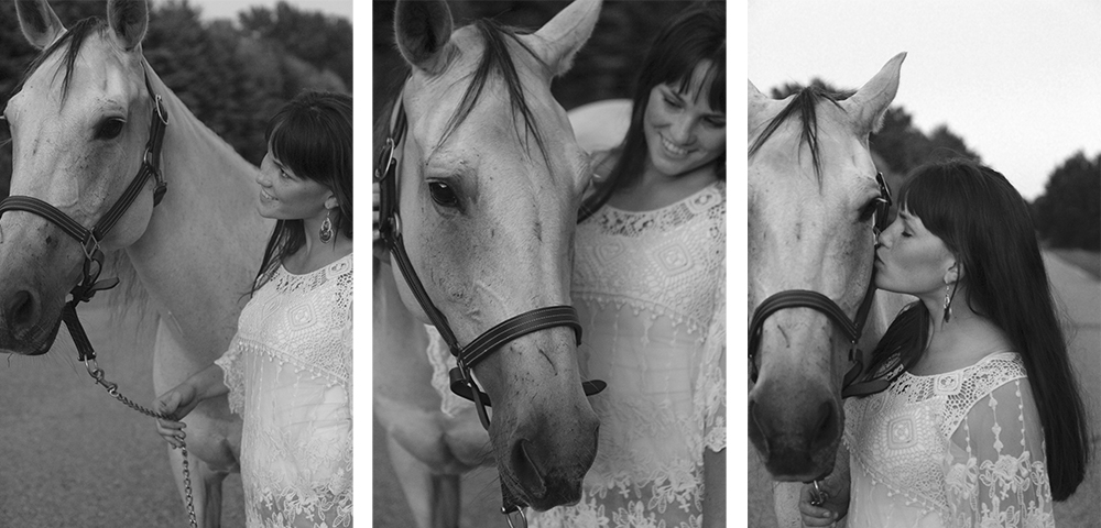 black and white senior portraits apple orchard horse senior photo Lauren Church Benzie County michigan