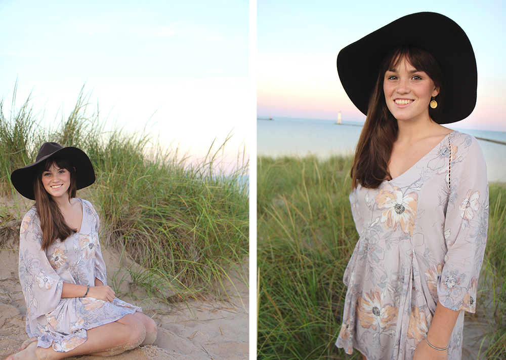 beach senior portrait Frankfort pier Lauren Church Benzie Central High School graduation photos