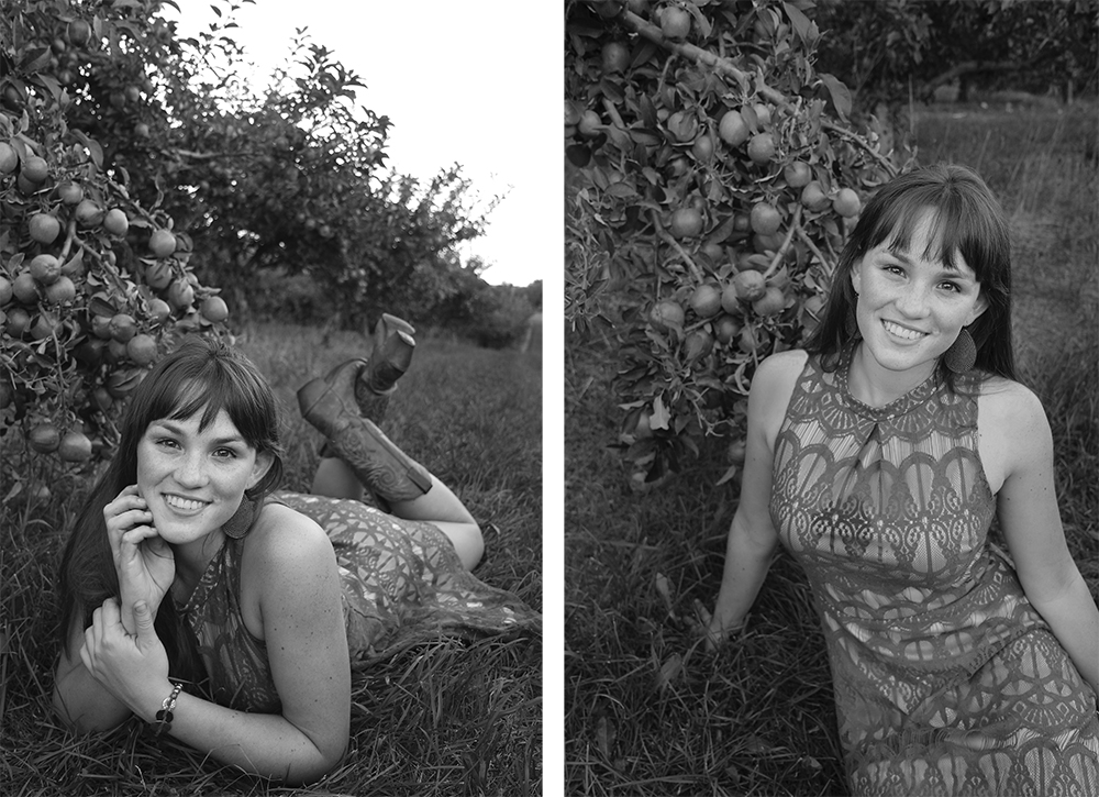 black and white senior portraits apple orchard senior portrait Lauren Church Benzie County michigan