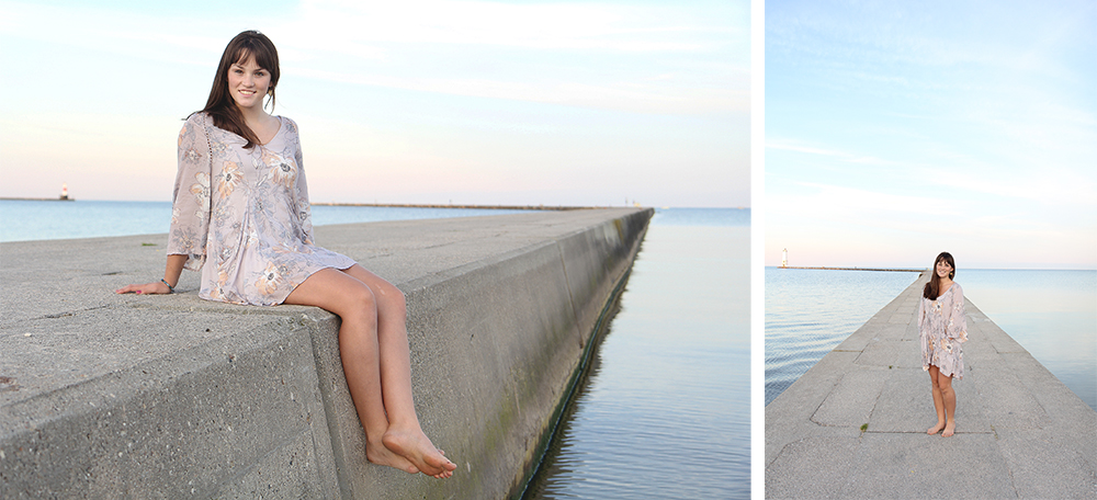 Lauren Church Benzie Central graduation photos senior portraits Frankfort pier Northern Michigan beach portrait