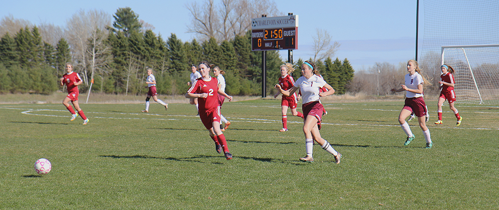 Sydney Ghering Hanna Burch Allana Bostick Grace Anderson Benzie Central girls varsity soccer Charlevoix girls varsity soccer Benzie Central Huskies Charlevoix Rayders Benzie Lady Huskies Charlevoix Lady Raiders