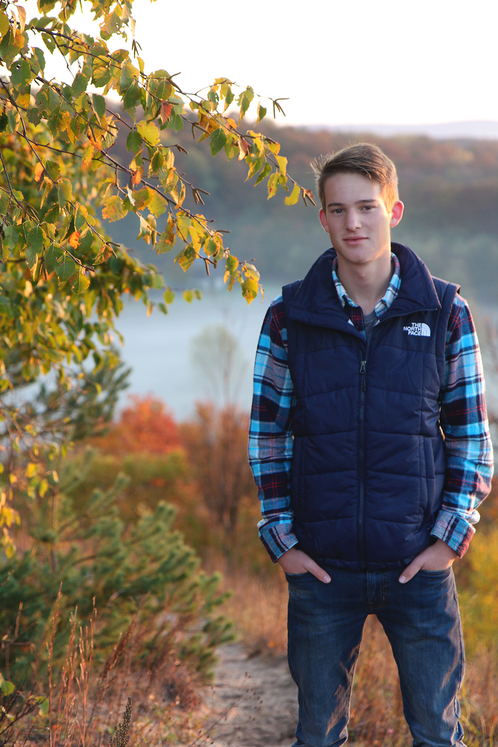 Cam Kubit Cameron Kubit fall senior portrait Northern Michigan senior picture Sleeping Bear Dunes National Lakeshore Treat Farm Aubrey Ann Parker Photography