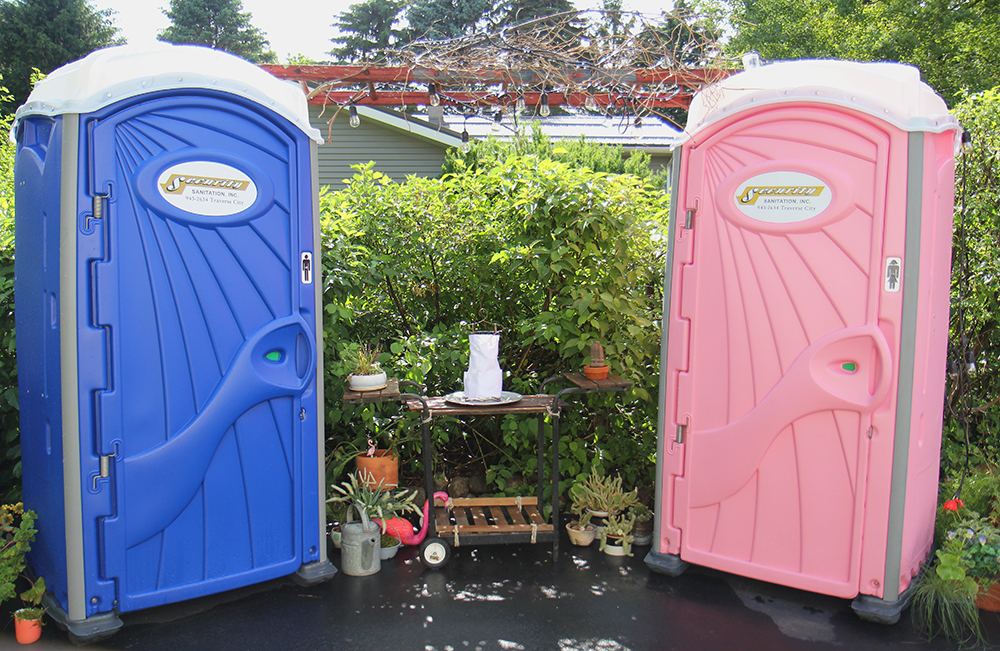 wedding decorations wedding porta-potty his and hers potties