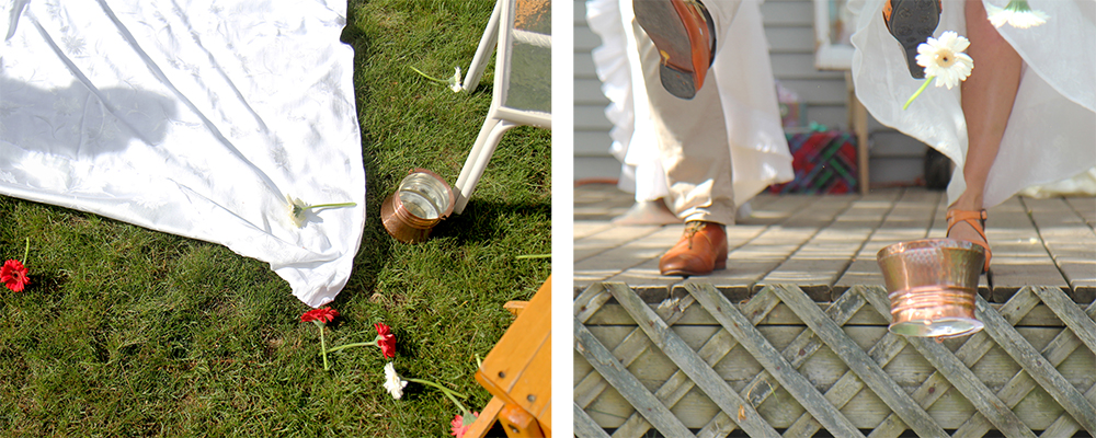 Bulgarian wedding tradition of husband and wife kicking red and white flowers to see if first child will be a boy or girl