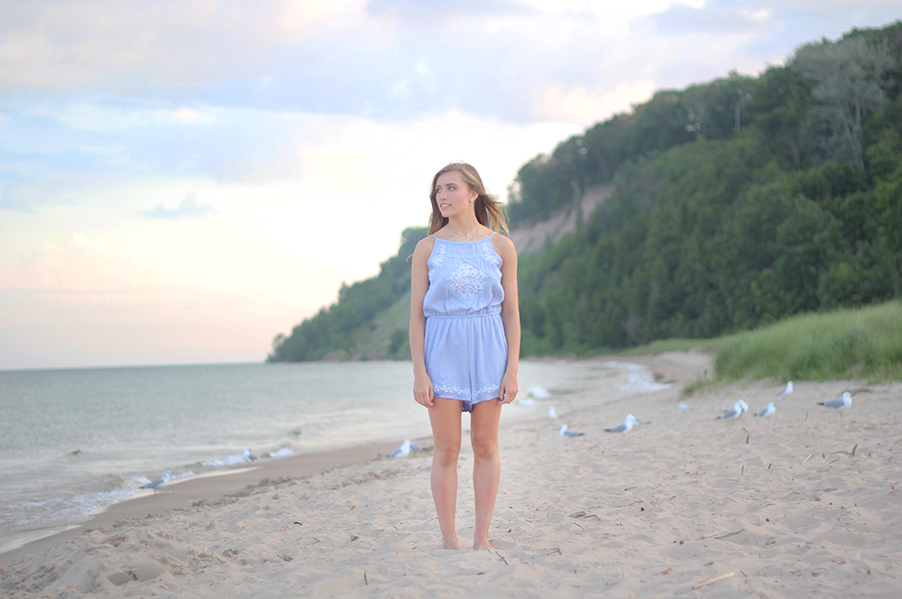 Jillian Graham Frankfort dunes beach senior photos aubrey ann parker photography Lake Michigan beach