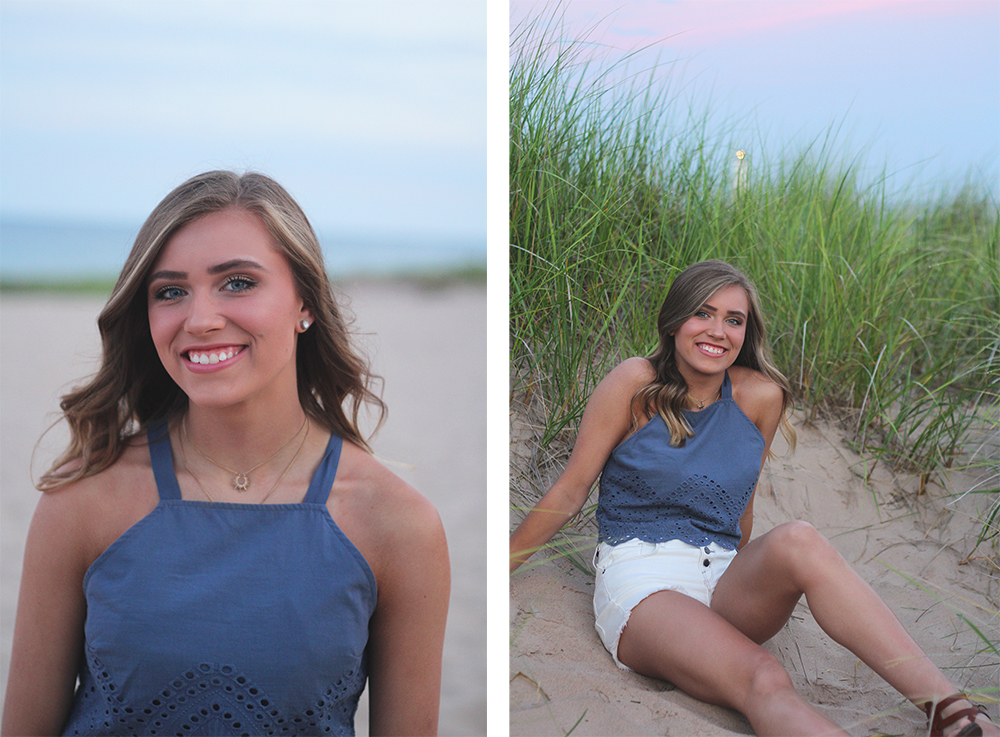 Jillian Graham Frankfort beach senior photos aubrey ann parker photography Lake Michigan beach